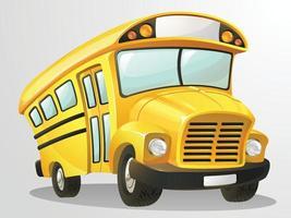 clipart del fumetto dell'illustrazione di vettore dello scuolabus dello studente giallo