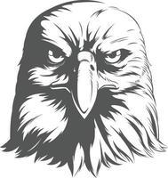 eagle falcon hawk testa vista frontale silhouette illustrazione nera vettore