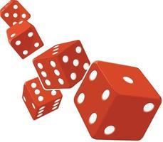 vettore del fumetto di probabilità di rotolamento del gioco dei dadi in sfondo trasparente