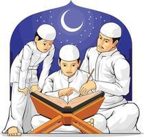 La famiglia dei bambini impara a leggere il libro sacro islamico del Corano nel cartone animato del Ramadan vettore
