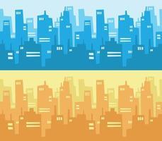 grattacielo dell'orizzonte della città che costruisce fumetto del fondo di stile di progettazione piana vettore