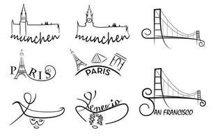 illustrazione vettoriale di simboli di città. parigi, monaco di baviera, venezia, schizzo della città di san francisco