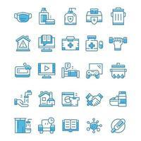 set di icone di quarantena con stile blu. vettore