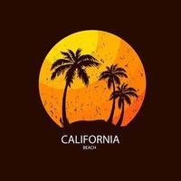 slogan della spiaggia della california estate surf e stile di palma. design per la stampa di t-shirt vettore