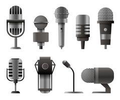 microfono impostato in stile cartone animato. microfoni per la trasmissione di podcast audio. illustrazione isolati su sfondo bianco vettore