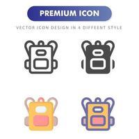 icona dello zaino isolato su priorità bassa bianca. per il design del tuo sito web, logo, app, ui. illustrazione grafica vettoriale e tratto modificabile. eps 10.