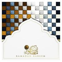Ramadan Kareem biglietto di auguri disegno vettoriale motivo floreale islamico con calligrafia araba per sfondo, banner. traduzione del testo ramadan kareem - che la generosità ti benedica durante il mese sacro