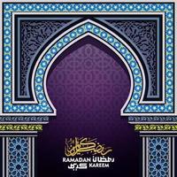 Ramadan Kareem saluto disegno vettoriale moschea porta islamica con motivo marocco e calligrafia araba. traduzione del testo che Allah ti benedica durante il mese sacro