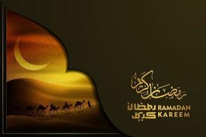 Ramadan Kareem saluto islamico illustrazione sfondo disegno vettoriale con arabo su cammelli, deserto e calligrafia araba