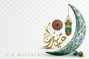 eid mubarak biglietto di auguri islamico illustrazione sfondo disegno vettoriale con bella luna e calligrafia araba