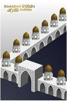 Ramadan Kareem saluto disegno vettoriale illustrazione islamica con bella moschea e calligrafia araba