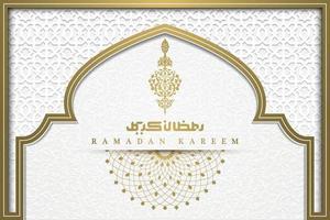 Ramadan Kareem saluto sfondo modello islamico disegno vettoriale con bella mezzaluna e calligrafia araba