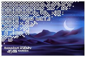 Ramadan Karem saluto islamico illustrazione sfondo disegno vettoriale con deserto arabo nella notte e calligrafia araba