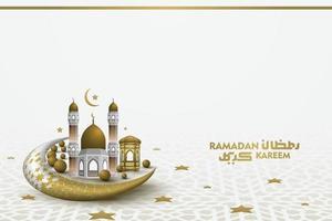 Ramadan Kareem saluto islamico illustrazione sfondo disegno vettoriale con bella calligrafia araba e moschea per banner, carta da parati, carta e brosur