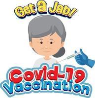 carattere di vaccinazione covid-19 con una donna anziana che riceve il vaccino covid-19 vettore