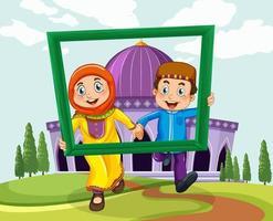 coppia musulmana con cornice per foto su sfondo moschea vettore