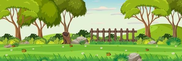 sfondo di scena del paesaggio orizzontale del giardino vettore