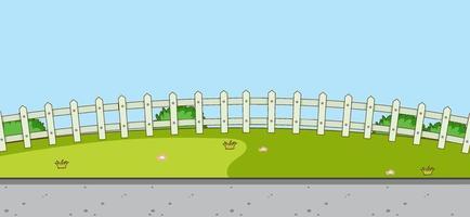 scena di paesaggio parco vuoto con prato e recinzione bianca vettore