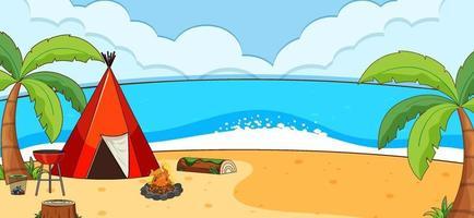 scena del paesaggio della spiaggia con tenda da campeggio vettore