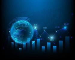 finanza di concetto del grafico di analisi del mercato azionario e illustrazione di investimento di affari globali vettore