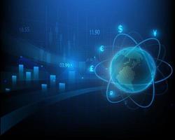 simbolo di analisi del mercato azionario, commercio di borsa globale su sfondo blu vettore