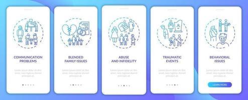 tipi di terapia familiare online onboarding schermata della pagina dell'app mobile con concetti vettore