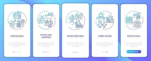 attività familiari all'aperto onboarding schermata della pagina dell'app mobile con concetti vettore