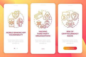 motivi di violazione della sicurezza bancaria onboarding schermata della pagina dell'app mobile con concetti