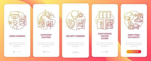 Suggerimenti per la sicurezza bancomat onboarding schermata della pagina dell'app mobile con concetti vettore