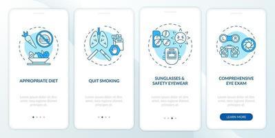 suggerimenti per la salute degli occhi onboarding schermata della pagina dell'app mobile con concetti vettore