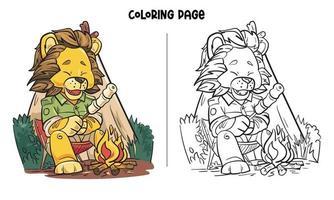 un leone si diverte a arrostire marshmallow da colorare vettore
