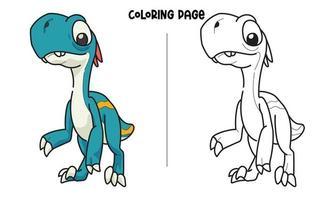 Pagina da colorare di dinosauro blu alto vettore