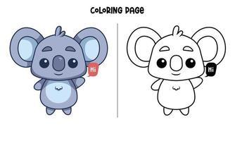un koala che dice ciao pagina da colorare vettore