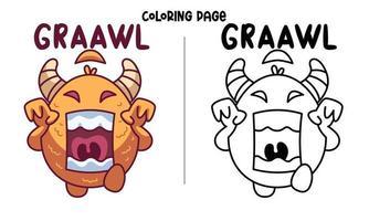 Colora Il mostro arancione mangia una ciambella vettore
