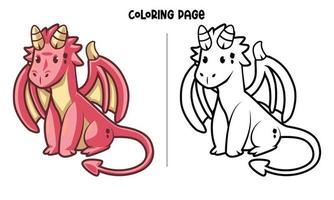 Pagina da colorare di simpatico drago rosso seduto vettore
