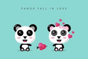 una coppia di panda carina è innamorata vettore