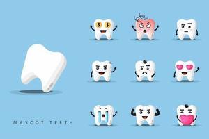 set di mascotte dentali vettore