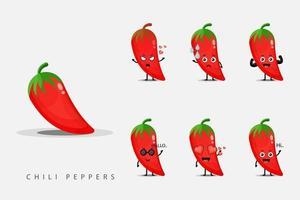 set di disegni mascotte peperoncino rosso vettore