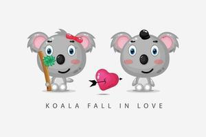 la simpatica coppia di koala è innamorata vettore