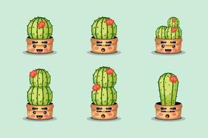 set di graziosi cactus in una pentola vettore