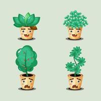collezione di graziose piante in vaso vettore