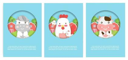 set di carte di animali da fattoria con casa carina, galline e mucca per biglietti d'auguri. vettore