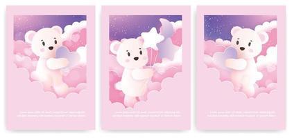 set di biglietti di auguri con simpatico orsacchiotto in colori pastello. vettore