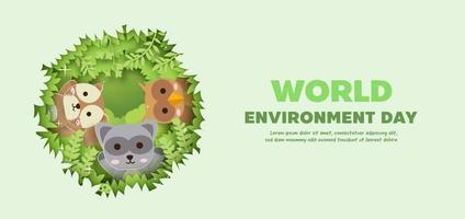 banner della giornata mondiale dell'ambiente con simpatici animali in stile taglio carta. vettore