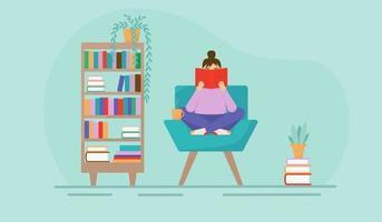 illustrazione piatta di una ragazza che legge un libro su una sedia. interno di una stanza o di una biblioteca domestica. vettore