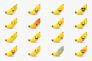 set di banana carina con emoticon vettore