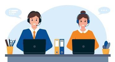 giovane uomo e donna con cuffie, microfono e computer. concetto di servizio clienti, supporto o call center. vettore