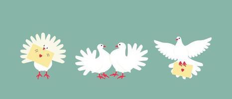 un set di colombe bianche è un simbolo di pace e benessere familiare vettore