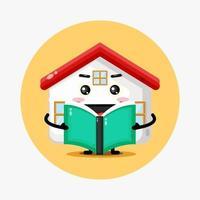 mascotte di casa carina che legge un libro vettore