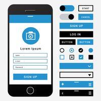Elemento Wireframe per interfaccia utente mobile vettore